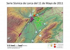 Serie sísmica del 11 de Mayo con tectónica básica.