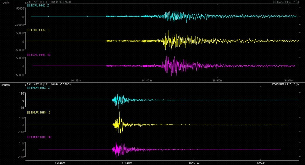 Sismograma del terremoto de 5.1 del 11 de Mayo