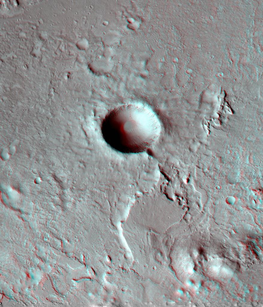 Cráter dentro de Gale. NASA/JPL/UA.