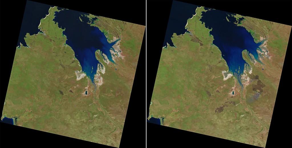 Imagen de la zona tomada por el Landsat 8 correspondientes al 20 de Julio y al 5 de Agosto de 2013. NASA/USGS.
