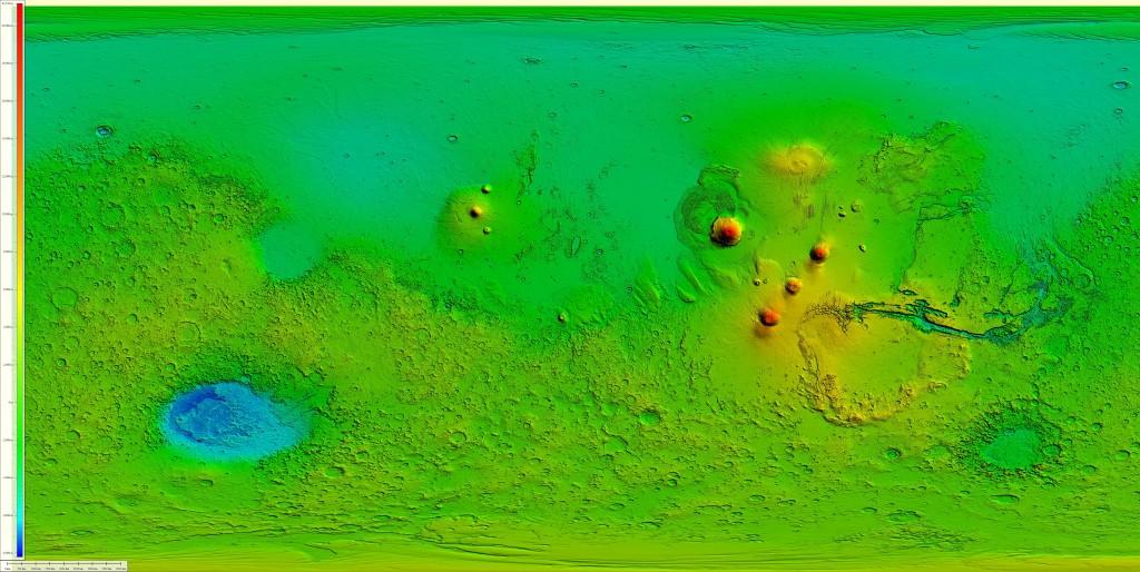 Modelo digital de elevaciones derivado de los datos del instrumento MOLA, que viajaba abordo de la Mars Global Surveyor.