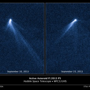 El asteroide P/2013 P5 desde el Telescopio Espacial Hubble. NASA, ESA, and D. Jewitt (UCLA)