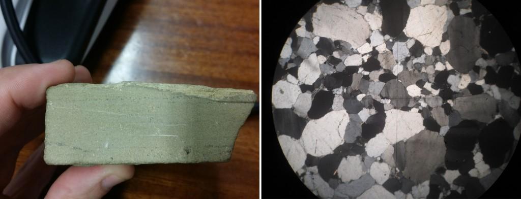 Muestra de mano de una arenisca y a la derecha, observada al microscopio petrográfico mediante luz polarizada. La cruz tiene de lado a lado 3 milímetros, y la mayoría de los granos que se observan en esta muestra son de cuarzo.