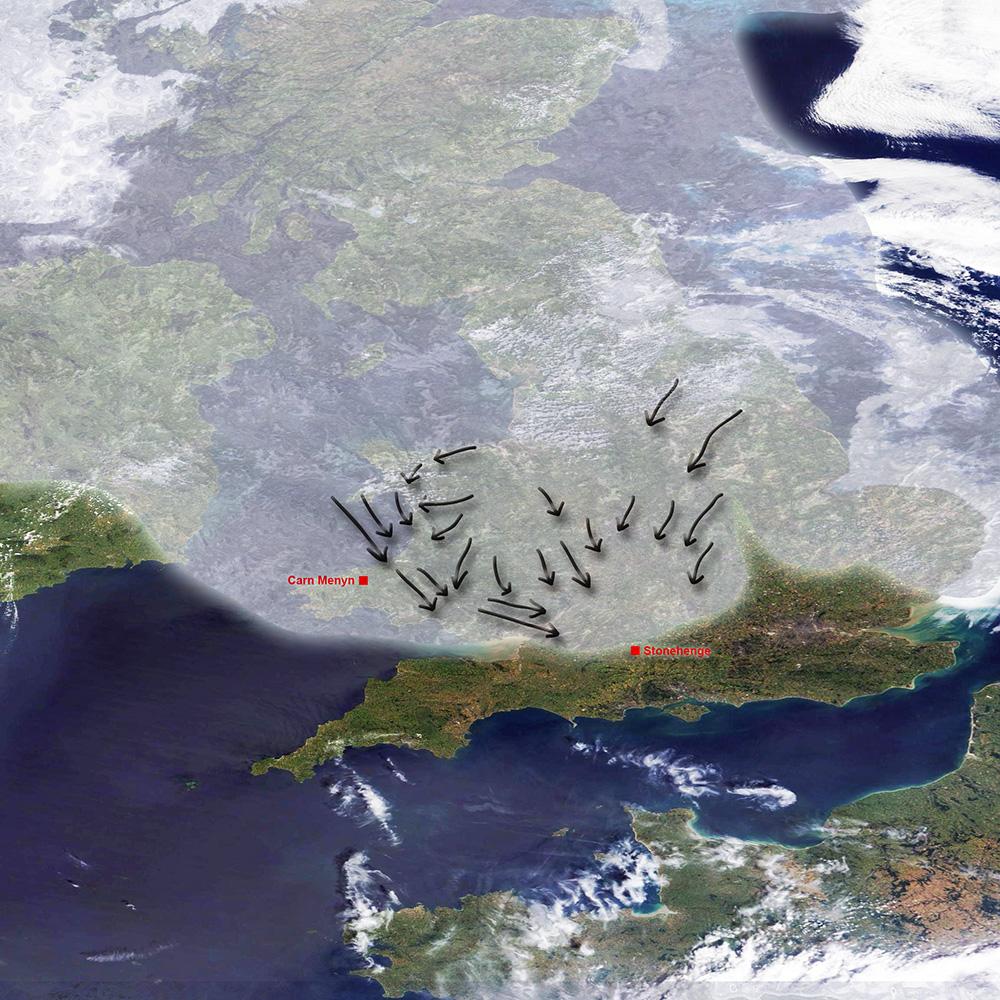 Extensión de los casquetes glaciares durante el último máximo glacial en la zona del Reino Unido e Irlanda. Las flechas indican el sentido aproximado de transporte de los glaciares.