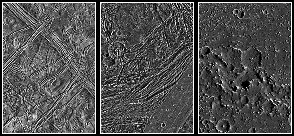 Comparación de las superficies de Europa, Ganímedes y Calisto observadas desde la Galileo a la misma resolución. Observese como Europa está prácticamente desprovista de cráteres, mientras que en los otros dos aparecen cráteres de impacto.  Algo debe estar rejuveneciendo Europa. NASA/JPL/DLR.