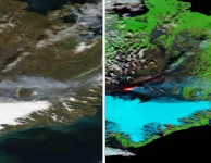 Imagen de Islandia en la que se aprecia la zona de la fisura eruptiva y la columna de gases y ceniza a la izquierda en color real y a la derecha en falso color tomada por el Aqua ayer día 6 de Septiembre. NASA.
