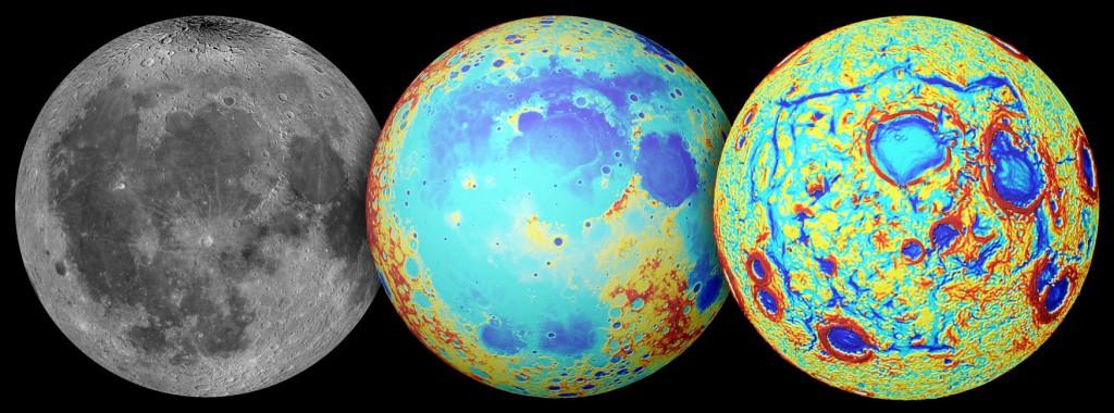 A la izquierda, la Luna tal y como la vemos nosotros, en el centro, un mapa topográfico de la Luna, en el que destacan las grandes llanuras en azul intenso y las tierras altas en color rojo, y a la derecha el mapa de anomalías gravitatorias. NASA/Colorado School of Mines/IT/JPL/GSFC..