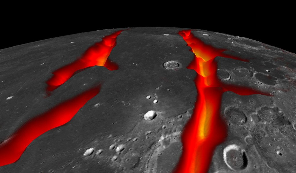 A través de estas fracturas saldría originalmente la lava que cubrió gran parte de la zona. La corteza se iría adelgazando en estas, permitiendo la salida del magma, al igual que en nuestro planeta ocurre en las zonas de rift. NASA/Colorado School of Mines/MIT/JPL/GSFC.