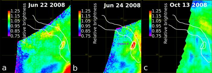Así cambia en el infrarrojo la zona de Ganiki Chasma durante los eventos detectados por la VMC. E. Shalygin et al (2015).