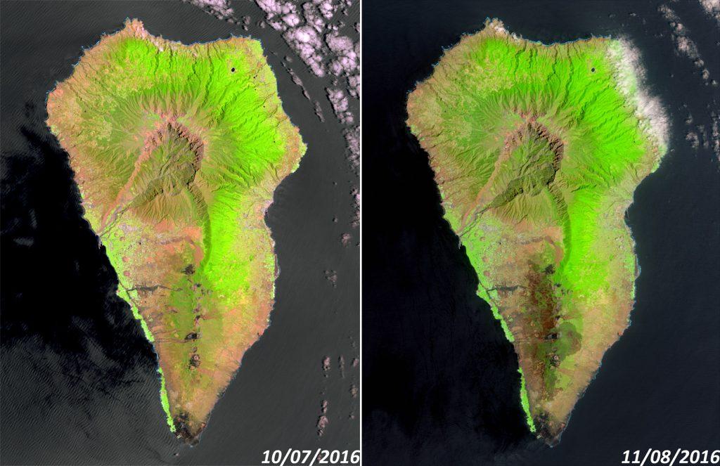 La Palma, antes y después del incendio, vista desde el Landsat 8. NASA/USGS.