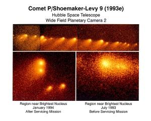 Fragmentos del Shoemaker-Levy 9 vistos por el Hubble.Créditos: Dr. H.A Weaver & T.E.. Smith STScI. NASA