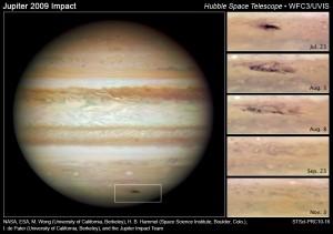 """Evolución de la nube """"oscura"""" en Júpiter desde Julio a Noviembre de 2009. Créditos: NASA, ESA, M. H. Wong (University of California, Berkeley), H. B. Hammel (Space Science Institute, Boulder, Colo.), I. de Pater (University of California, Berkeley), and the Jupiter Impact Team"""