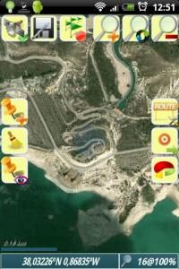 Captura de OruxMaps en la que se observa una imagen de Google Maps offline.