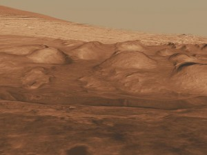 Montes estratificados en el interior del Cráter Gale. NASA/JPL-Caltech/ESA/UA.