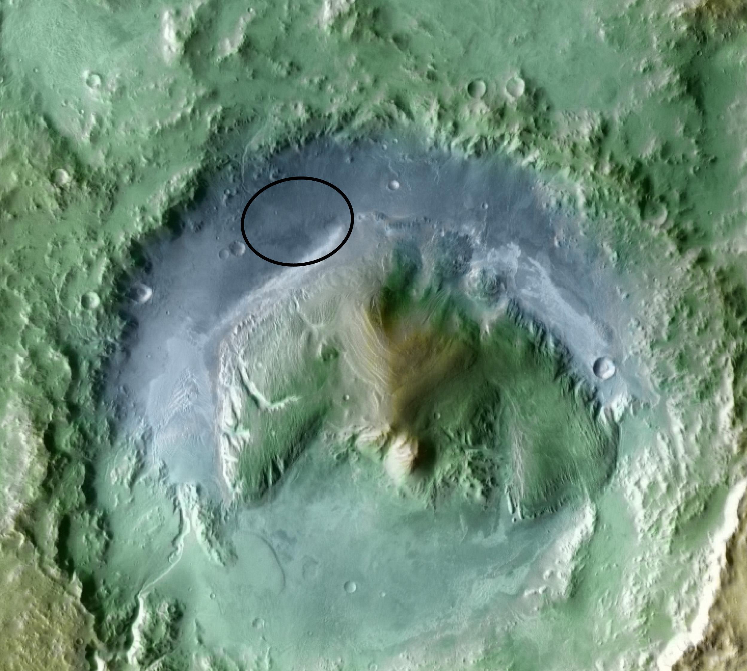 Elipse de aterrizaje de la MSL. NASA/JPL/UA.