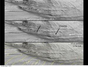Estructuras downlap en los estratos del cráter Gale. Dawn Y. Sumner/NASA/JPL/University of Arizona