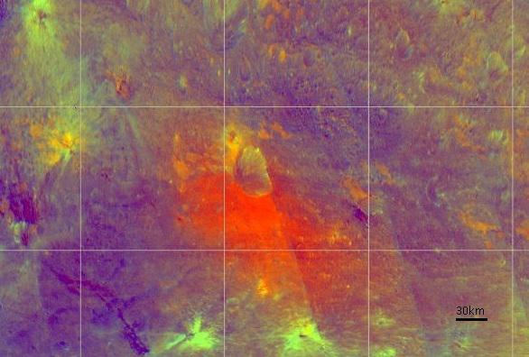 Imagen en falso color de Vesta en la que se ven resaltados los distintos materiales. NASA/JPL-Caltech/UCLA/ASI/INAF..