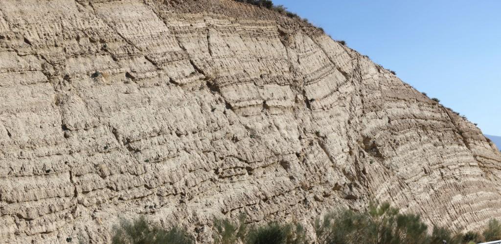Faulted Miocene sandstones in Granada Basin