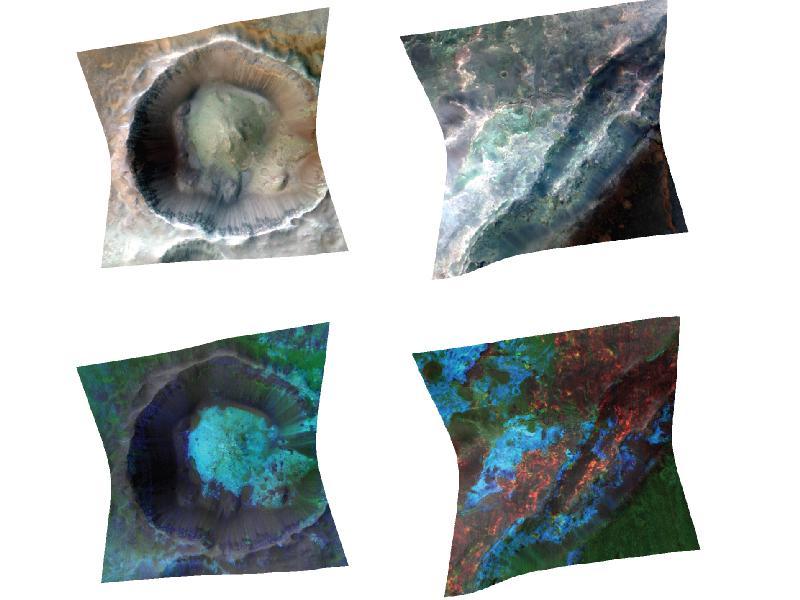 La erosión y los cráteres nos permiten ver los estratos que hay bajo la superficie de Marte. NASA/JPL-Caltech/JHUAPL.