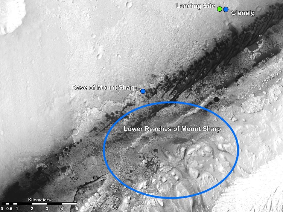 Algunos de los que pueden ser los primeros destinos del Curiosity. NASA/JPL-Caltech/Universidad de Arizona.