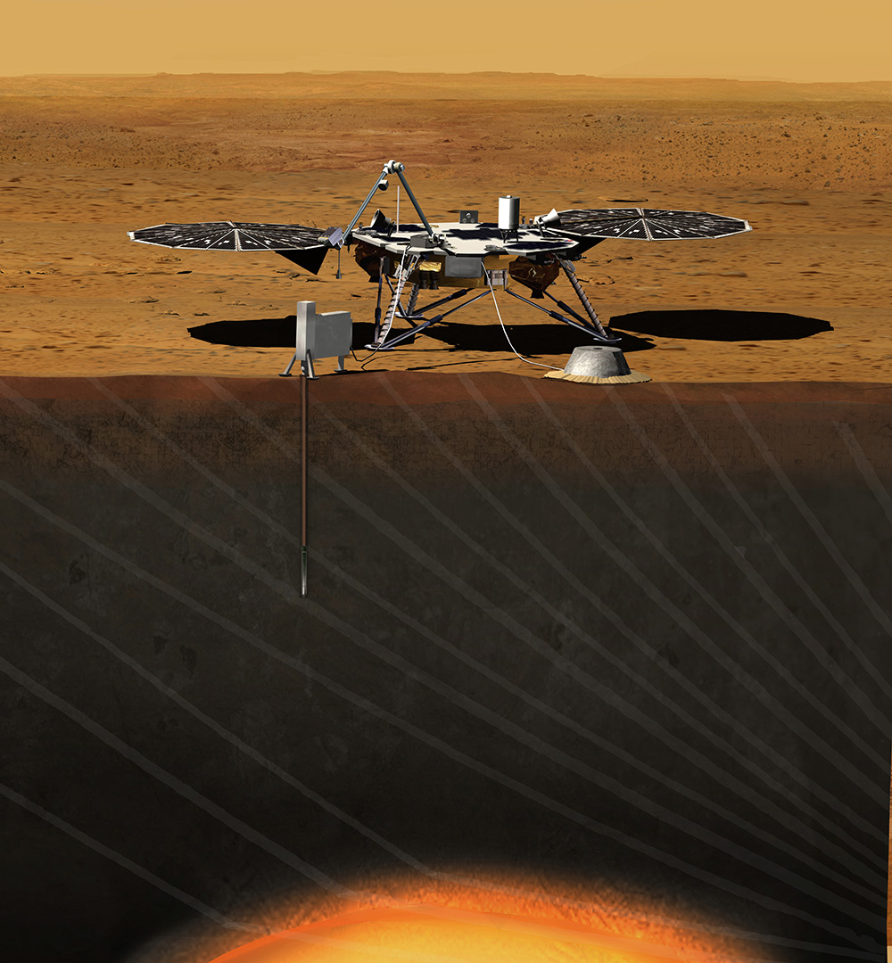InSight sobre la superficie de Marte. NASA/JPL.