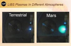 Prueba de disparo del láser en la que se observa el tamaño de la burbuja de plasma. NASA/JPL-Caltech.