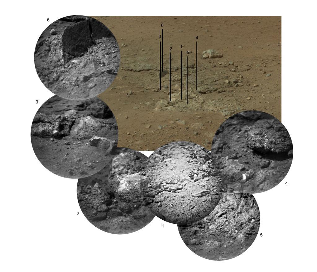 Goulburn, el afloramiento que quedó expuesto por la maniobra de skycrane, y seis imágenes ampliadas. El láser se usó en el centro de 2, 3 y 4. NASA/JPL-Caltech.