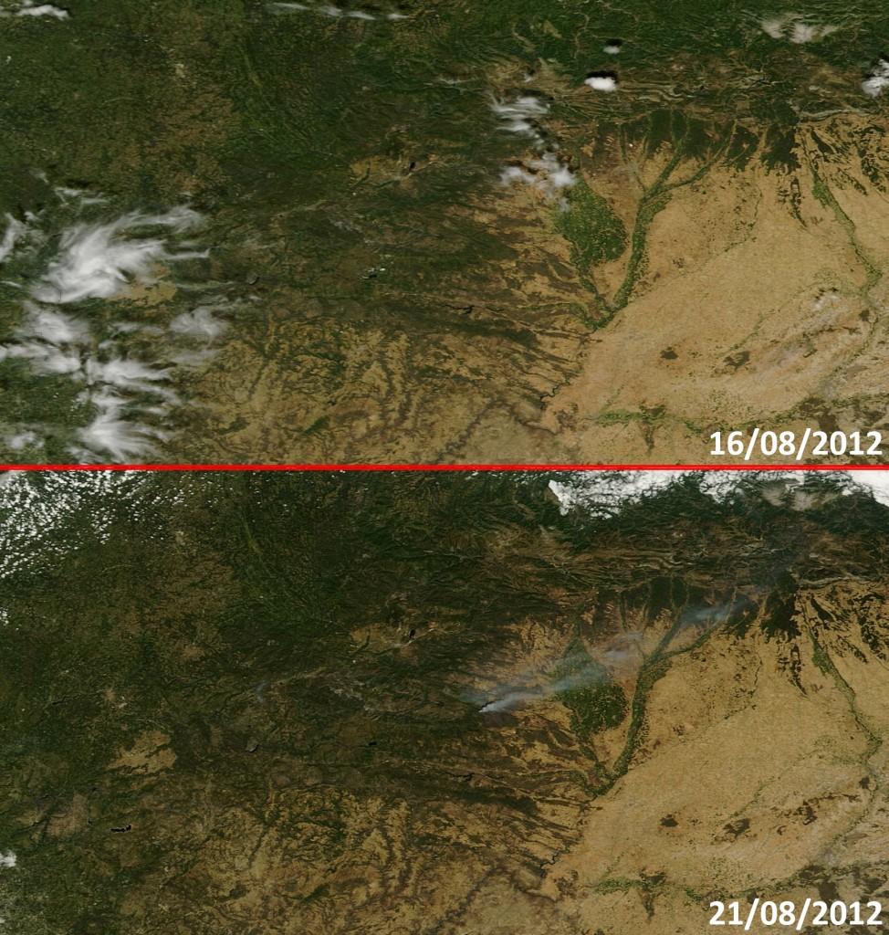 Imagen de la misma zona en dos días distintos, arriba, el día 16 de Agosto, antes del incendio, se observa que la zona está de color verde. Abajo, la imagen tomada hoy, muestra la zona quemada ya como un color marrón oscuro. NASA/GSFC.
