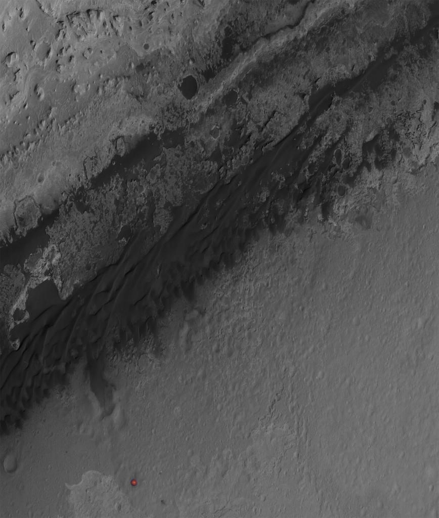 Dunas que rodean Aeolis Mons en la zona cercana al aterrizaje del Curiosity. NASA/JPL/Universidad de Arizona.