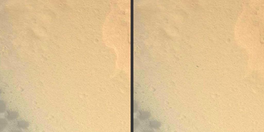 Impacto del escudo térmico contra la superficie de Marte en dos fotogramas. En el de la izquierda no se aprecia el impacto, en el de la derecha, que es el siguiente, se observa. NASA/JPL-Caltech.
