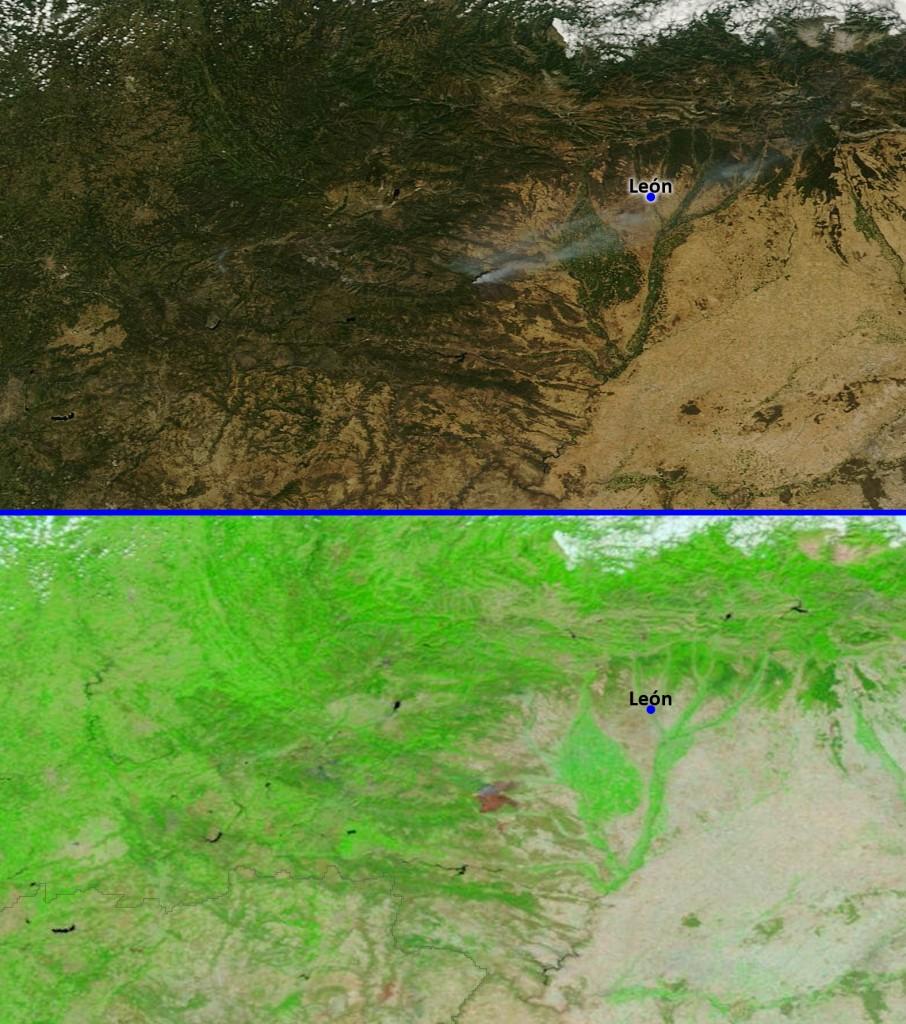 Imagen del incendio de León el día 21/08/2012 visto en luz visible (arriba) y en tres bandas (7-2-1) en las que se resalta la vegetación y otros aspectos (abajo). NASA/GSFC.