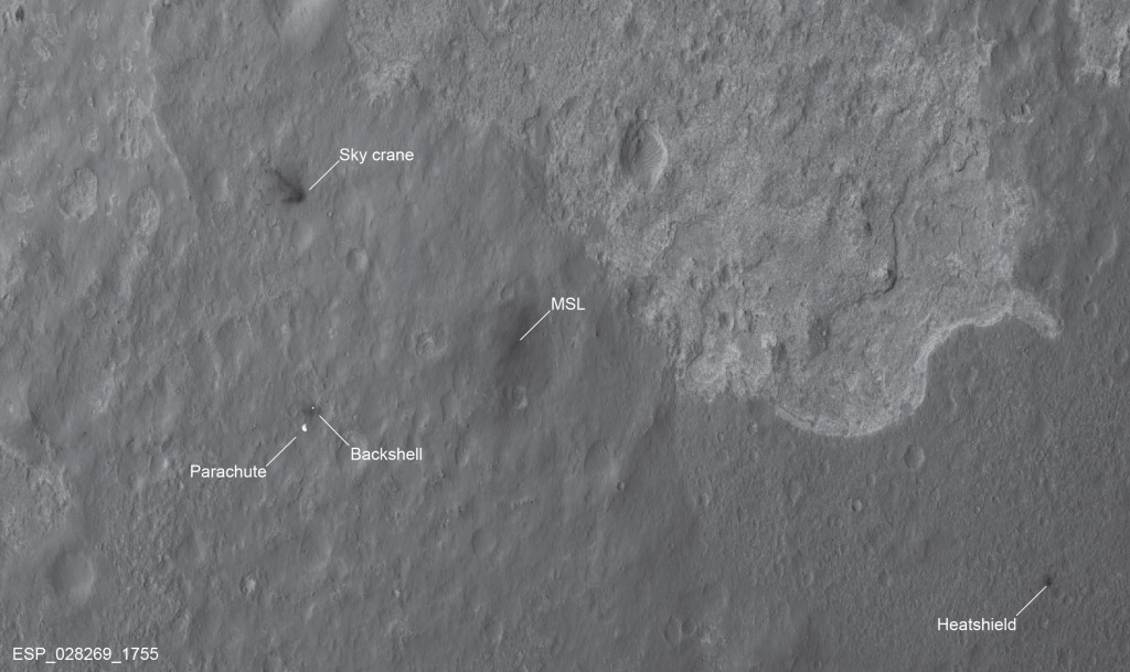 En esta imagen se pueden ver las distintas partes de la etapa de aterrizaje, así como el Curiosity. NASA/JPL/University of Arizona.