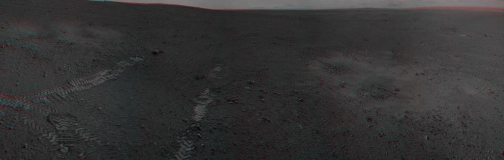 Panorama parcial en 3D derivado de las NavCam izquierda y derecha. NASA/JPL-Caltech.