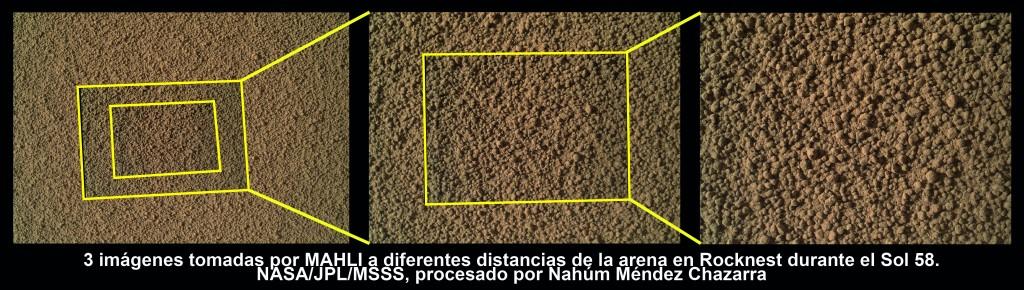 Comparación de tres imágenes tomadas por la MAHLI de Rocknest durante el Sol 58. NASA/JPL/MSSS. Para ver bien la imagen, pulsa para que se abra en grande.