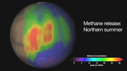 Distribución de metano en la atmósfera de Marte durante el verano en el Hemisferio Norte. NASA/JPL/ESA.