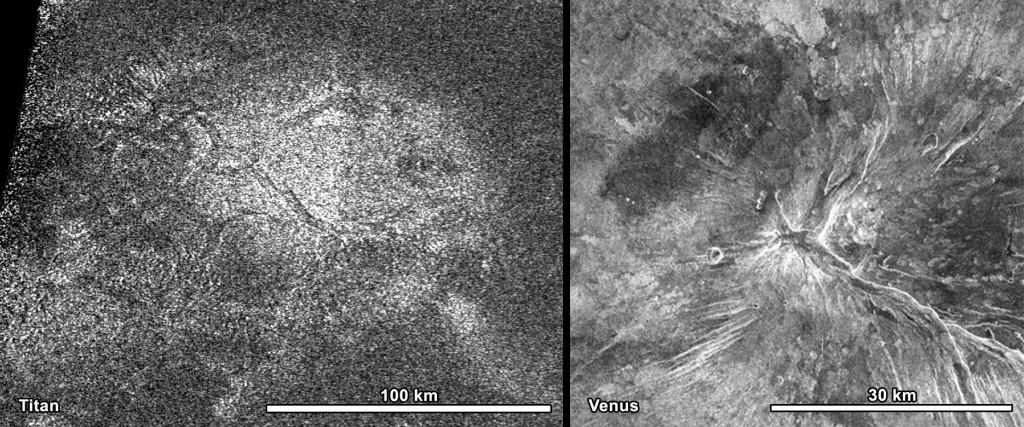 Imagen de radar de Titán (izquierda) y Venus (derecha). Observese en ambos casos la existencia de un juego de fracturas perpendiculares en equis. NASA/JPL-Caltech/ASI.