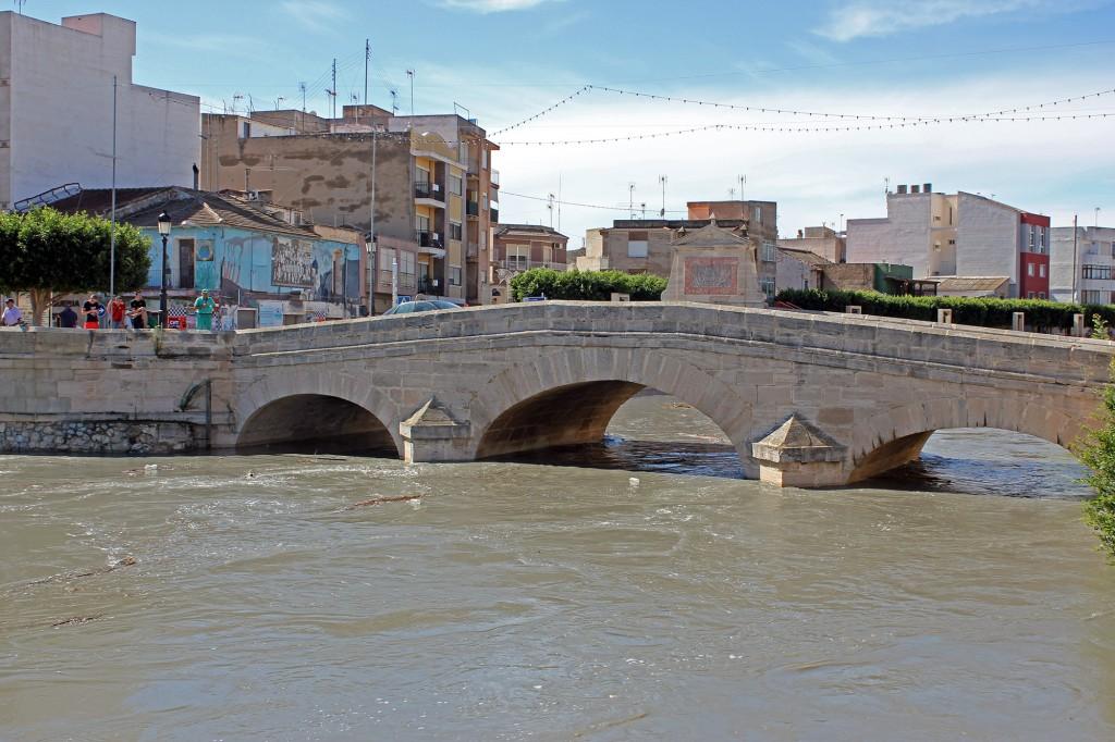 Color de las aguas del río Segura a su paso por Rojales (Alicante).