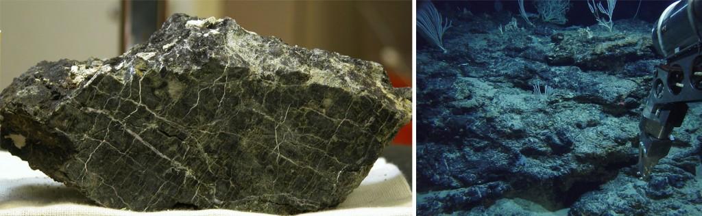 """A la izquierda, una serpentinita en muestra de mano. A la derecha, un conjunto de peridotitas deformadas próximas a la """"Ciudad perdida"""" en proceso de serpentinización. NOAA."""