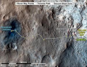 Mapa de lo que se ha movido el Curiosity hasta ahora, uno 519 metros en total. La zona más azul de Bradbury Landing es la señal de los retropropulsores sobre el suelo. NASA/JPL-Caltech/Univ. of Arizona.