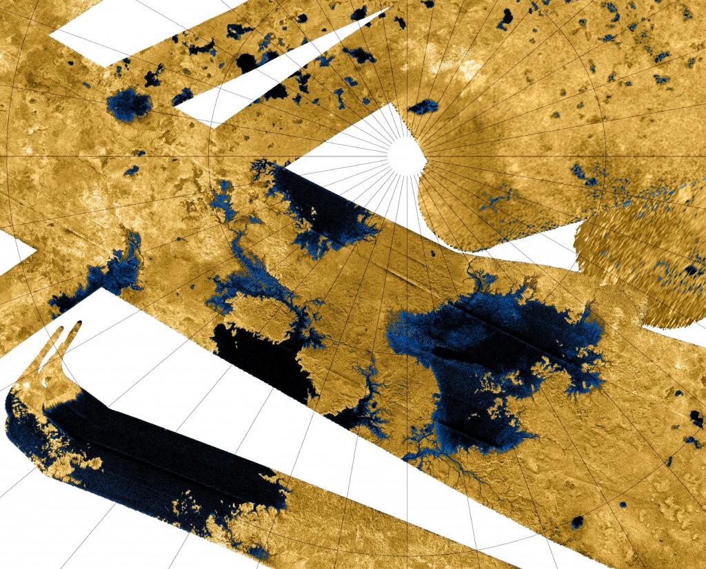 Ríos desembocando en distin2tos lagos y mares de Titán. NASA/JPL-Caltech/ASI.
