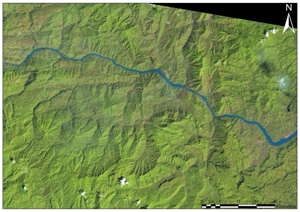 La zona de la Presa de las Tres Gargantas fotografiada en 1993 desde el Landsat 5, un año antes de empezar su construcción.
