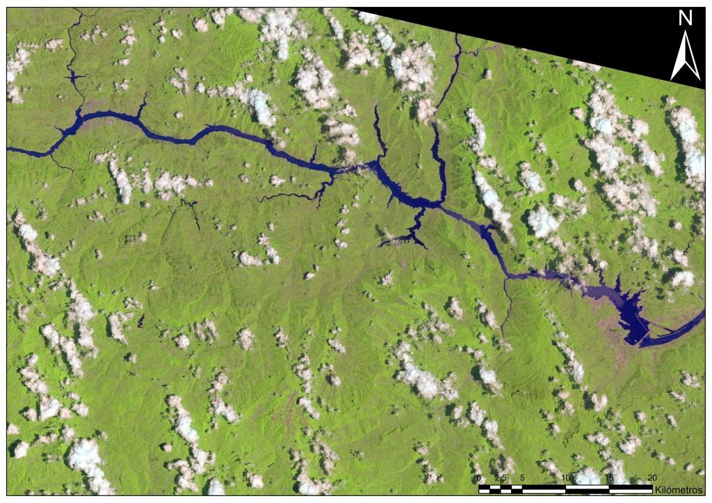 La zona de la Presa de las Tres Gargantas fotografiada este mes de Junio desde el nuevo Landsat 8.