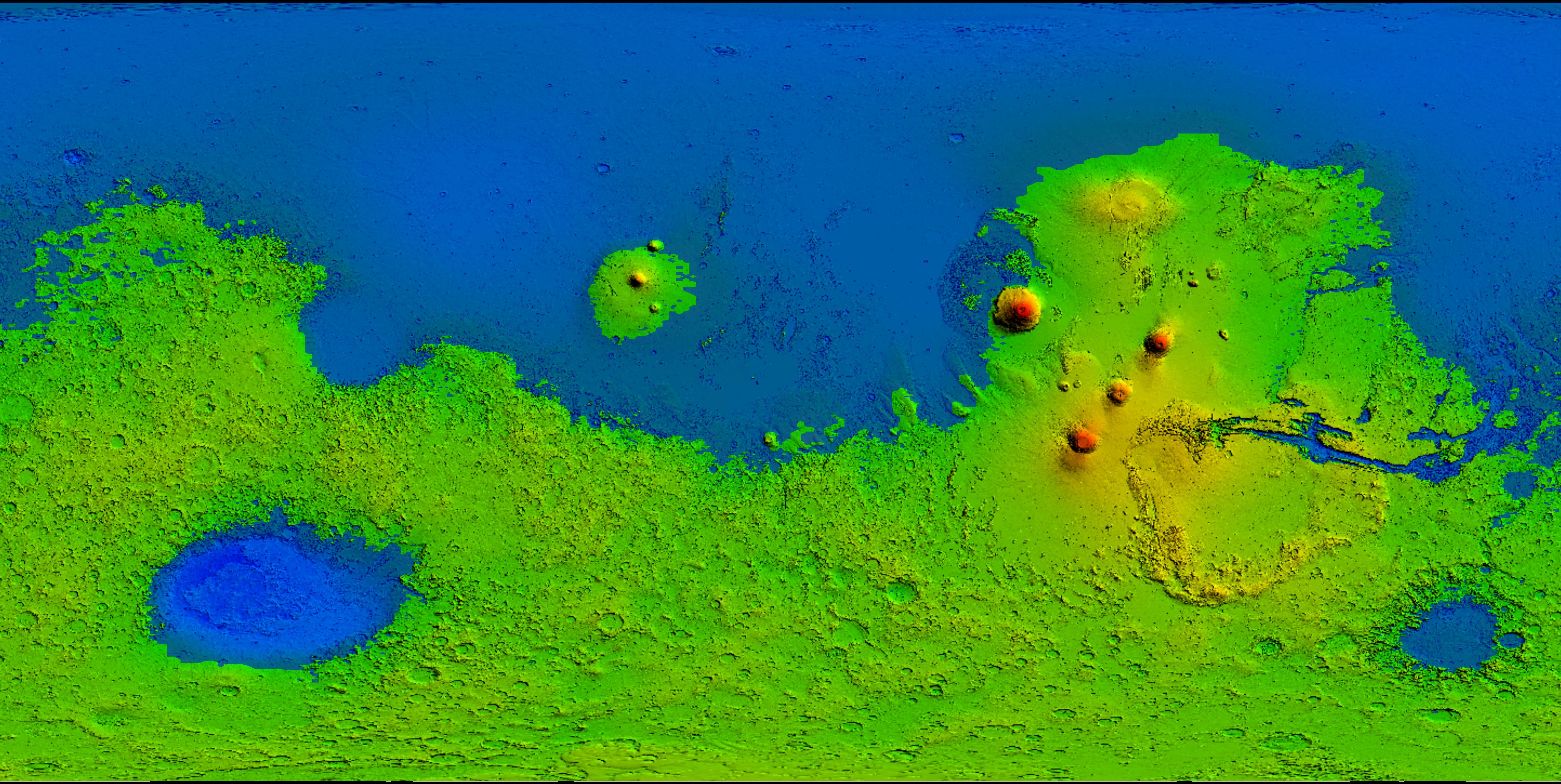 ¿Que cubriría el agua si la pusiésemos a cero metros?. En esta imagen se ve la superficie de Marte y que puntos quedarían por debajo de 0 metros si cubriésemos de agua su superficie.