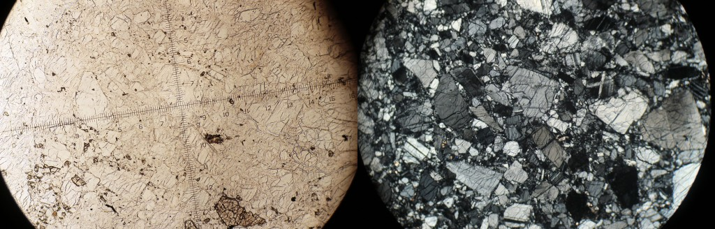 La anortosita, al microscopio.