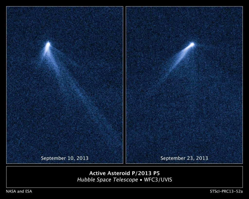 El asteroide P/2013 P5 desde el Telescopio Espacial Hubble. NASA, ESA, and D. Jewitt (UCLA)