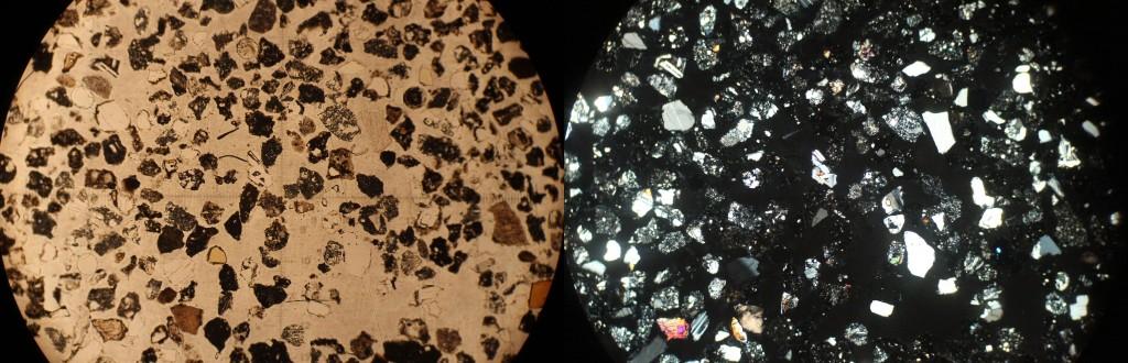 Muestra del suelo lunar al microscopio.