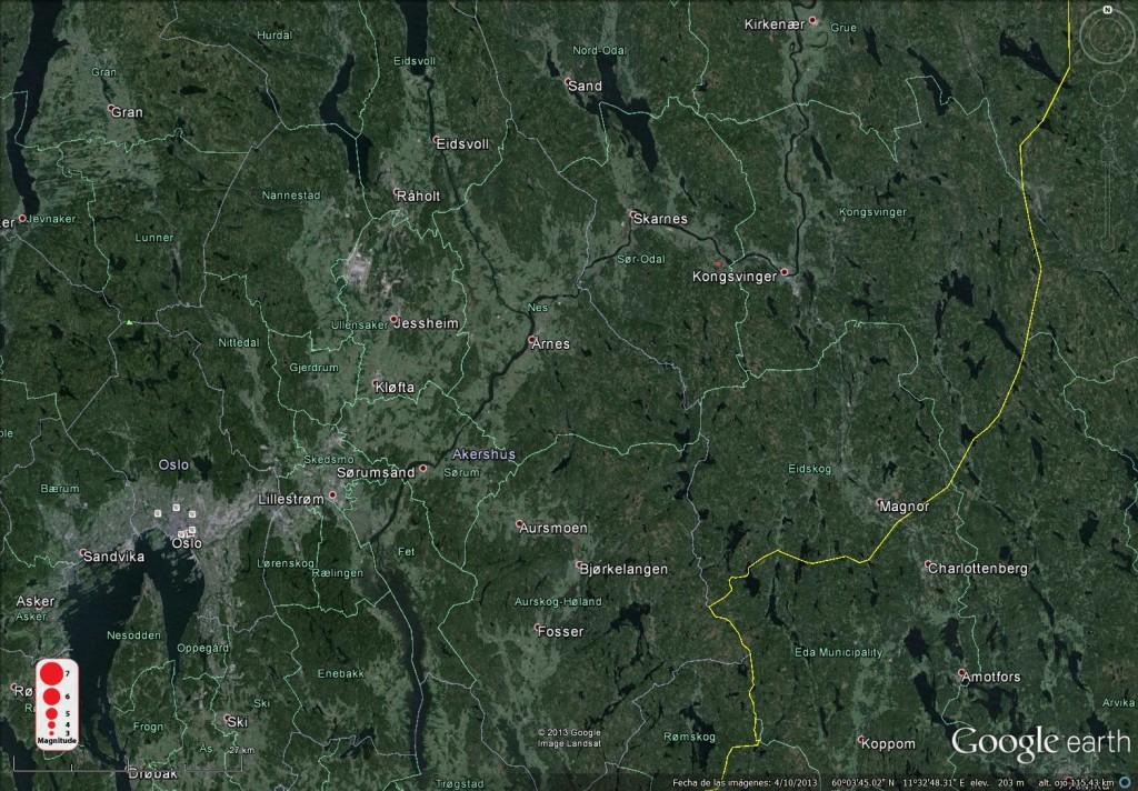 Este terremoto ocurrido en Sander (Noruega) en 2013 tuvo una magnitud de -0.1.
