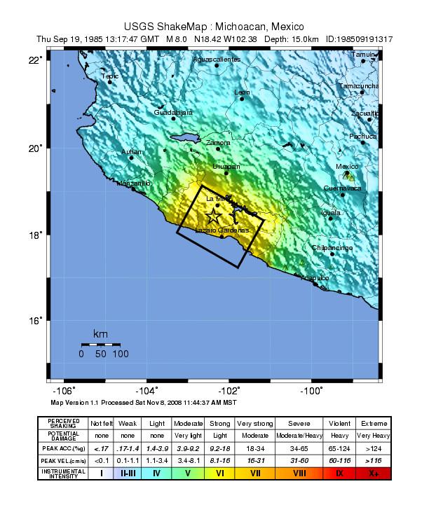 Mapa de intensidades del terremoto de Mexico de 1985 confeccionado por el USGS.