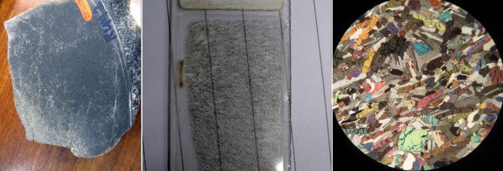 Tres imágenes de una dolerita. A la izquierda, tenemos la muestra de mano, en el centro, una lámina delgada de la misma roca donde los cristales comienzan a ser visibles, y a la derecha, la lámina delgada observada en el microscopio petrográfico, dónde se distinguen minerales como el olivino, clinopiroxenos y plagioclasas principalmente.