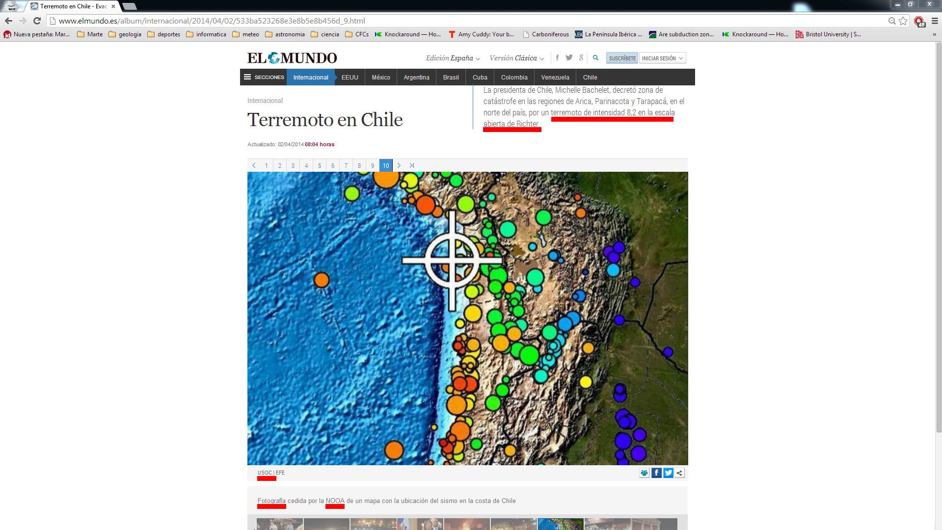 """Captura de pantalla de """"El Mundo"""" donde están subrayados los errores."""